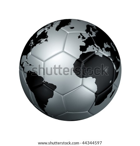 3D isolated silver soccer ball with world map, world football cup 2010 - stock photo