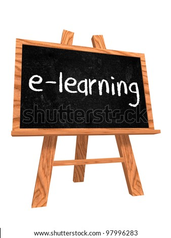 3d isolated wooden blackboard with text - e-learning - stock photo
