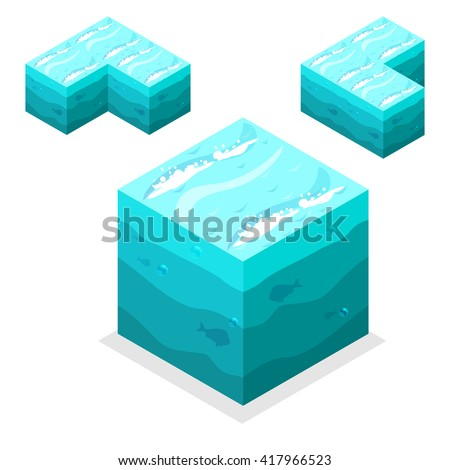 3D Isometric Landscape Cube - nature  unending water, sea. Icon Can be used for Game, Web, Mobile App, Infographics. Game asset. JPG copy - stock photo
