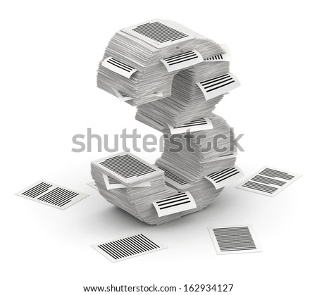 3D isometric number 3, makes from stacks of paper pages font - stock photo