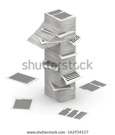 3D isometric number 1, makes from stacks of paper pages font - stock photo