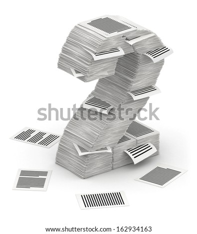 3D isometric number 2, makes from stacks of paper pages font - stock photo