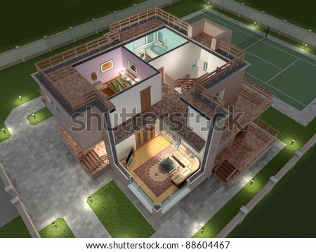 3D isometric view of the cut residential house. - stock photo