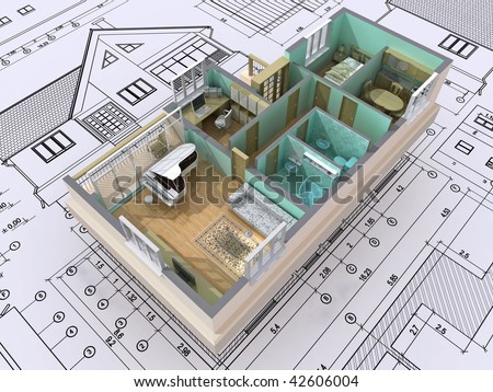 3D isometric view the cut residential house on architect's drawing. Background image is my own. - stock photo
