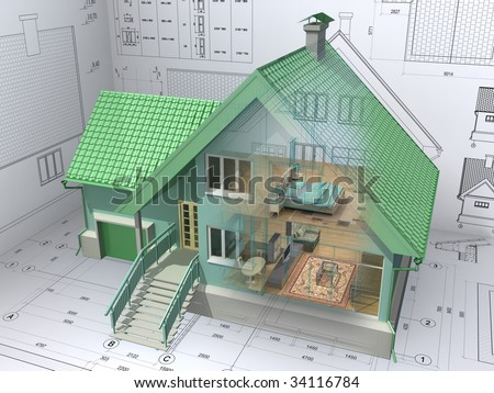 3D isometric view the residential house on architect drawing. Background image is my own. - stock photo