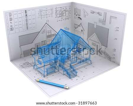 3D isometric view the residential house on architect's drawing. Background image is my own. - stock photo