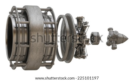 3d Jet engine inside isolated on white background. High resolution  - stock photo