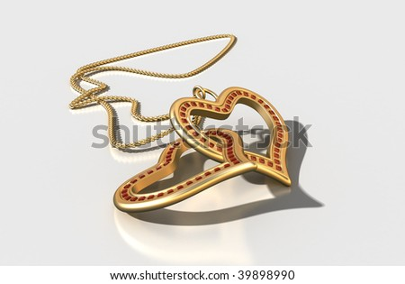 3D jewelry, gold hearts interlocked with red rubies, isolation path included in file - stock photo