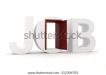 3d job text and door, on white background - stock photo