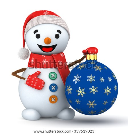 3d jolly snowman with a toy on a white background - stock photo