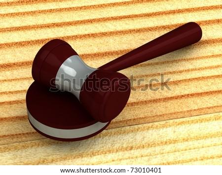 3d judge gavel isolated on white background - stock photo