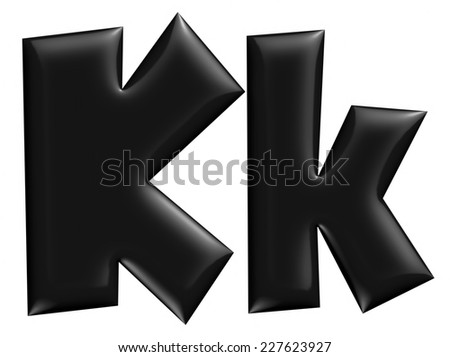 3D K alphabet with small later in black on isolated white background. - stock photo
