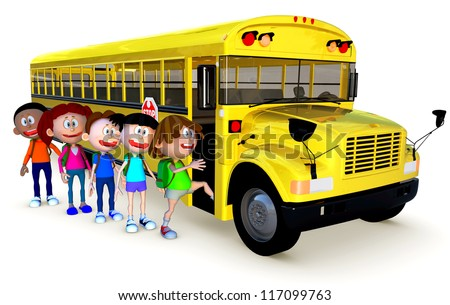 3D Kids going to school by bus - isolated over a white background - stock photo