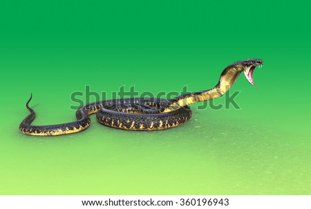 3d King cobra snake attack  isolated on green background - stock photo