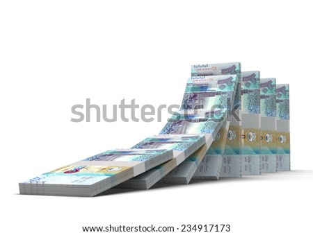 3D kuwaiti money dominoes stacked falling and collapsing isolated on white background  - stock photo