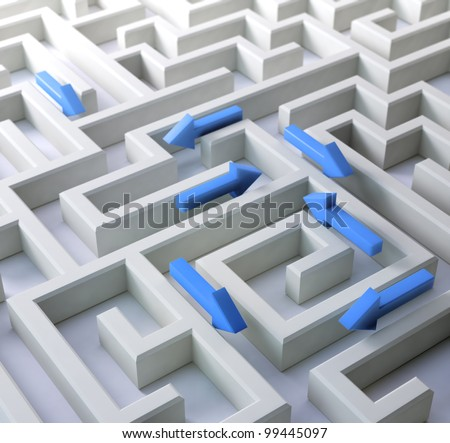 3D labyrinth with arrows leading in different directions - stock photo