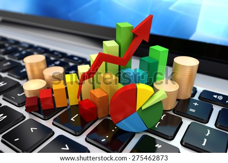 3d laptop close up and financial elements - stock photo