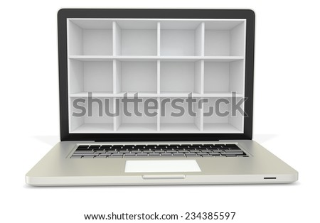 3d laptop computer with empty bookcase,shelves on white background - stock photo