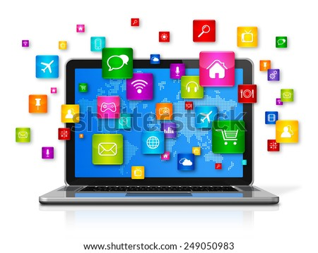 3D Laptop Computer with flying apps icons - isolated on white - stock photo
