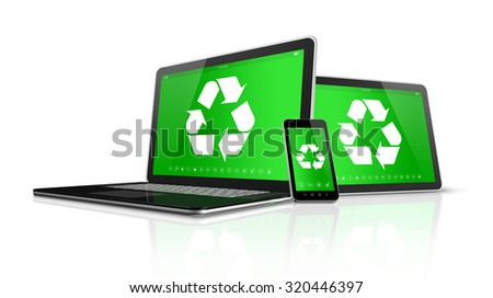 3D Laptop tablet PC and smartphone with a recycling symbol on screen. environmental conservation concept - stock photo