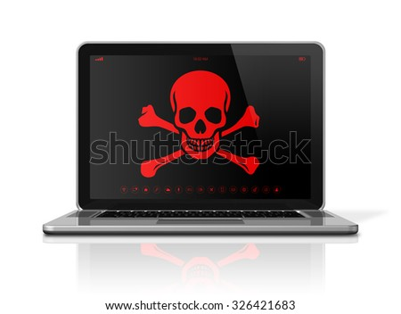 3D Laptop with a pirate symbol on screen. Hacker concept - stock photo