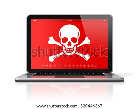 3D Laptop with a pirate symbol on screen. Hacking concept - stock photo