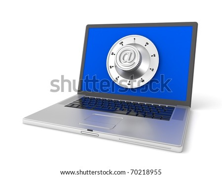 3d laptop with safe lock isolated on white background - stock photo