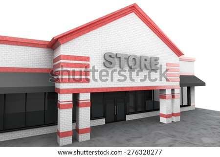 3d Large Store Building on a white background - stock photo