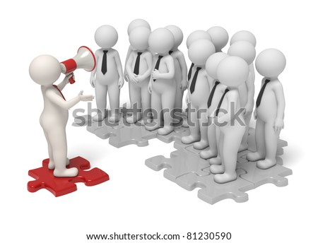 3d leader making an announcement with a red megaphone to his team - Isolated - Communication concept - stock photo