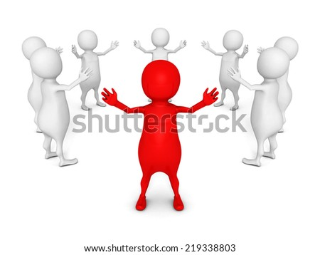 3d leader man of round team group. leadership concept 3d render illustration - stock photo