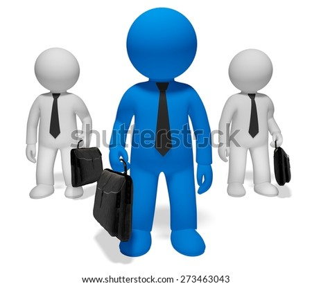 3D. Leadership, Manager, Standing Out From The Crowd. - stock photo