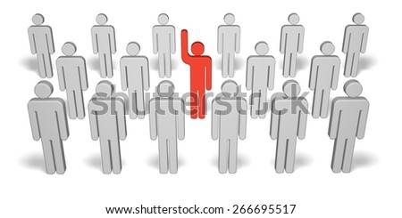 3D. Leadership, Standing Out From The Crowd, Individuality. - stock photo