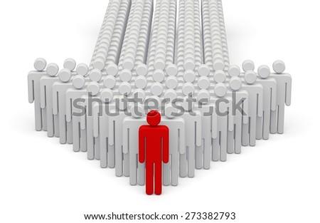 3D. Leadership, Three-dimensional Shape, Arrow Sign. - stock photo