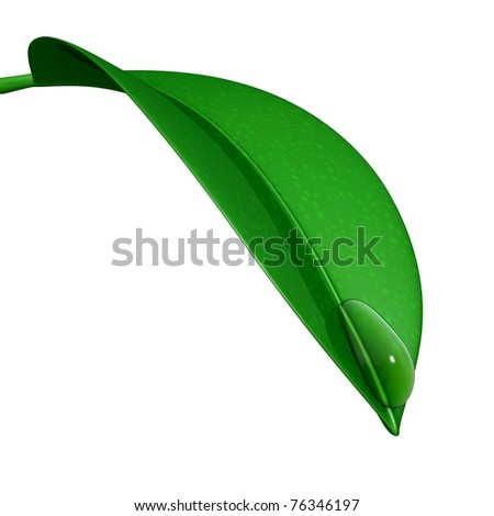 3d leaf with water drop - stock photo