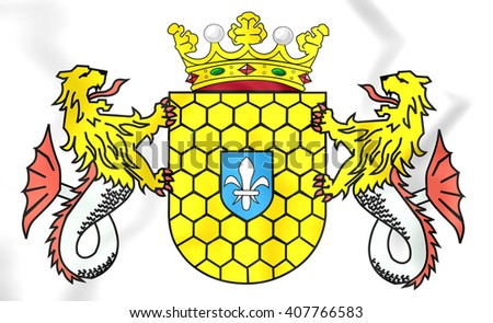 3D Lelystad Coat of Arms, Netherlands. Close Up. - stock photo