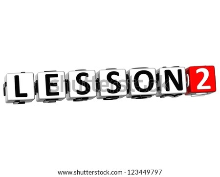 3D Lesson Button Click Here Block Text over white background - stock photo