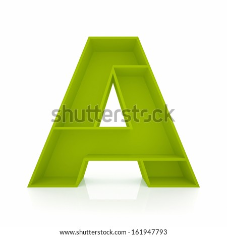 3d letter A from furniture alphabet collection isolated on white - stock photo