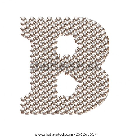 3D letter B dots pattern in silver on isolated white - stock photo