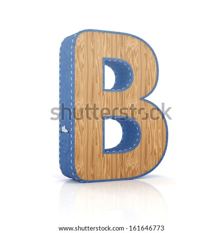 3d letter B from scrapbook alphabet collection isolated on white - stock photo