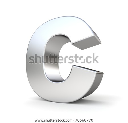 3d letter C from my metal letter collection - stock photo