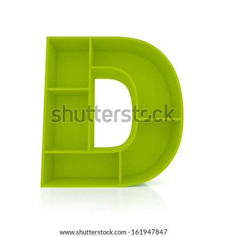 3d letter D from furniture alphabet collection isolated on white - stock photo