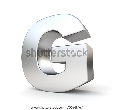 3d letter G from my metal letter collection - stock photo