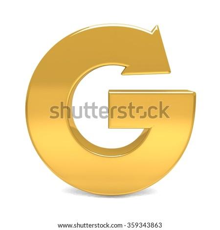 3d letter g gold metal arrow with golden arrow alphabet set - stock photo