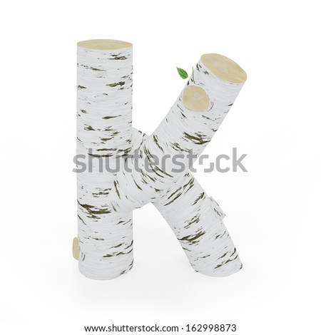 3D letter K from wooden birch collection isolated on white - stock photo