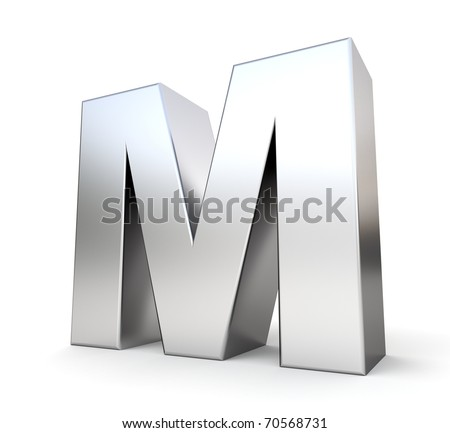3d letter M from my metal letter collection - stock photo