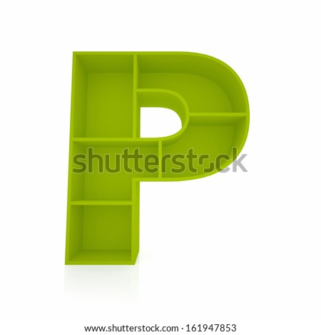3d letter P from furniture alphabet collection isolated on white - stock photo
