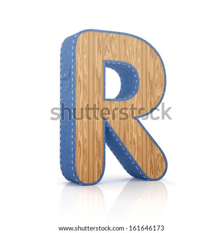 3d letter R from scrapbook alphabet collection isolated on white - stock photo