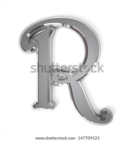 3d letter R whit metal surface isolated on a white background - stock photo