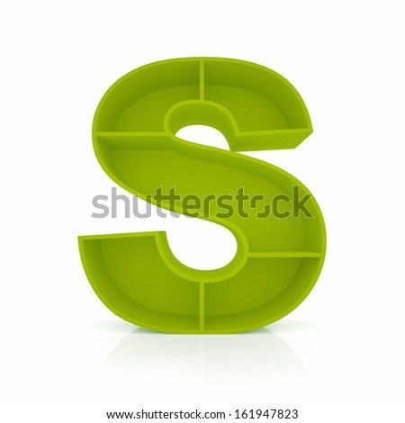 3d letter S from furniture alphabet collection isolated on white - stock photo