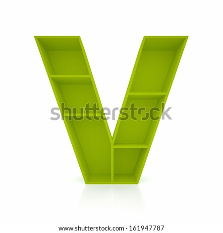 3d letter V from furniture alphabet collection isolated on white - stock photo